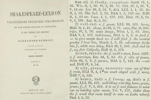 Значение fat в словаре шекспировского лексикона (лексическом шекспировском словаре)