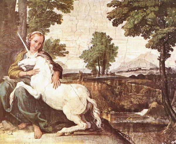 Доменикино. Дева с единорогом (фрагмент фрески, 1602)