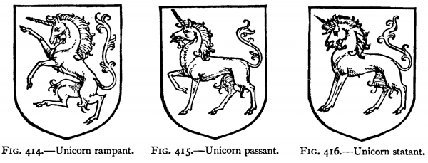 "Unicorn rampant, Unicorn passant, Unicorn statant. ""A Complete Guide to Heraldry"" by Arthur Charles Fox-Davies"