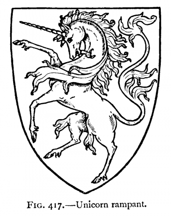 "Unicorn rampant (единорог восстающий). ""A Complete Guide to Heraldry"" by Arthur Charles Fox-Davies"