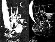 Пример сравнения сходных по сюжету иллюстраций к «Волшебнику Земноморья из комплекта к публикации в журнале «Наука и Жизнь» (1991 г.) и неиздававшейся подборки